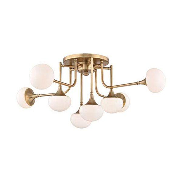 Maverick Aged Brass Eight-Light LED Semi-Flush Mount, image 1
