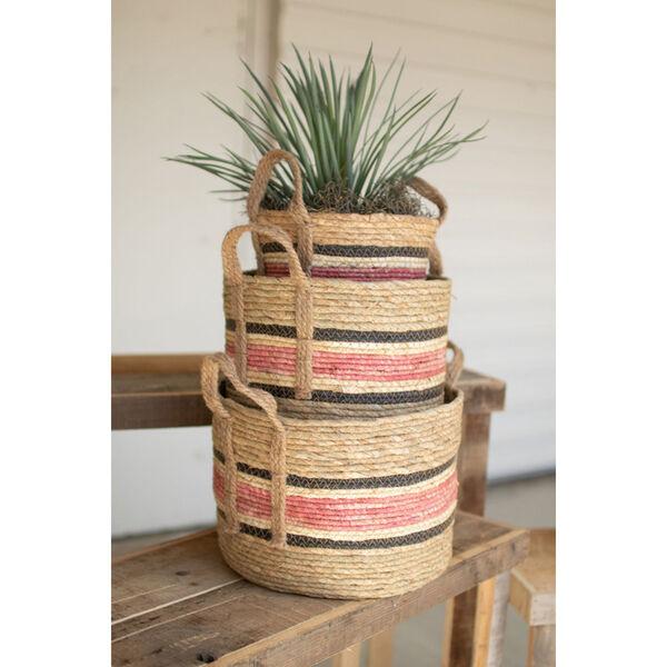 Pink Round Rush Basket, set of 2, image 1