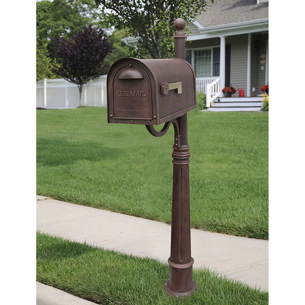 Classic Copper Curbside Mailbox with Ashland Mailbox Post Unit, image 1