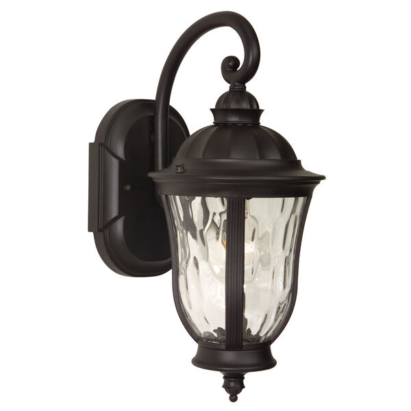 Frances Oiled Bronze One-Light Outdoor Wall Mount with Clear Hammered Glass, image 1
