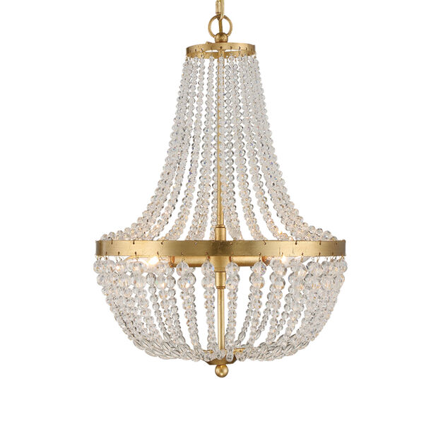 Rylee Antique Gold Three-Light Chandelier Convertible to Semi-Flush Mount, image 1