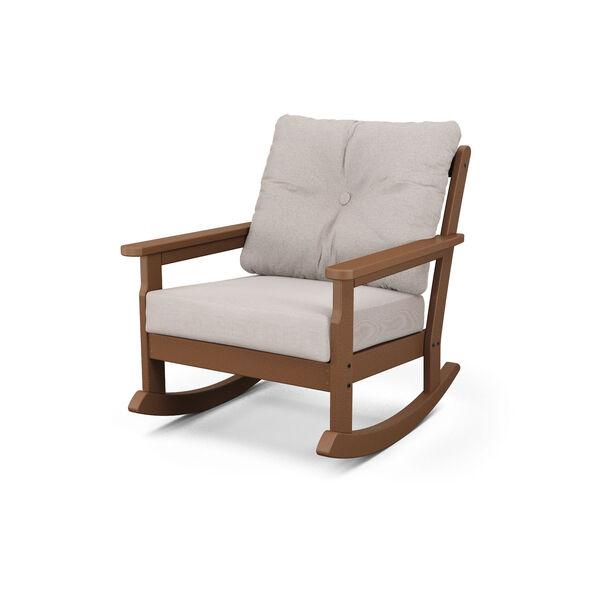 Vineyard Teak and Dune Burlap Deep Seating Rocking Chair, image 1