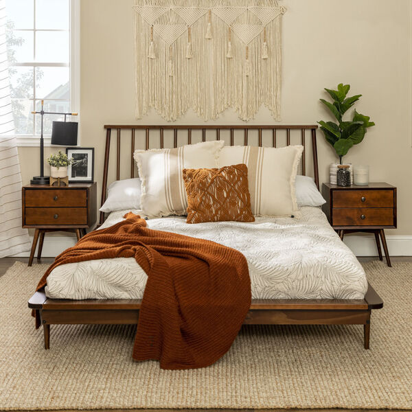 Queen Walnut Spindle Bed, image 4