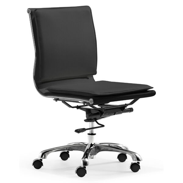Lider Plus Black and Chromed Steel Armless Office Chair, image 1