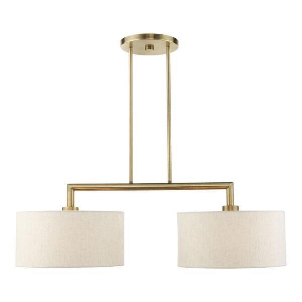 Meridian Antique Brass Two-Light Pendant, image 3