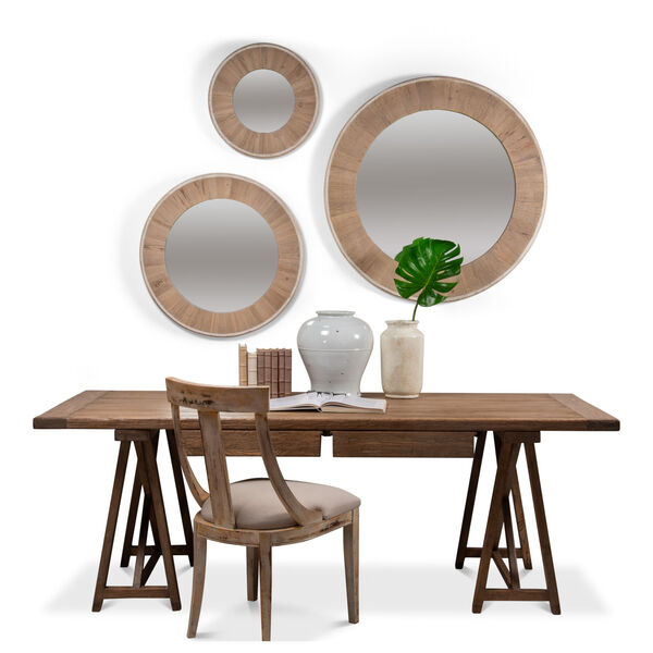 White 30 x 30 Inches Circular Wood Mirror, image 5