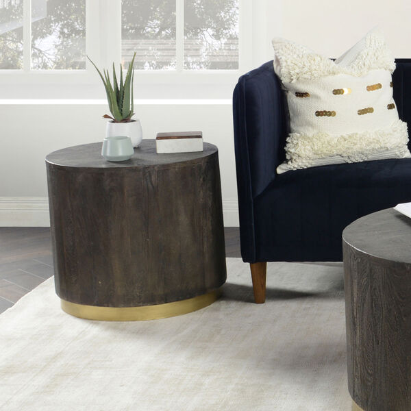Andy Espresso Brown and Antique Brass End Table, image 2