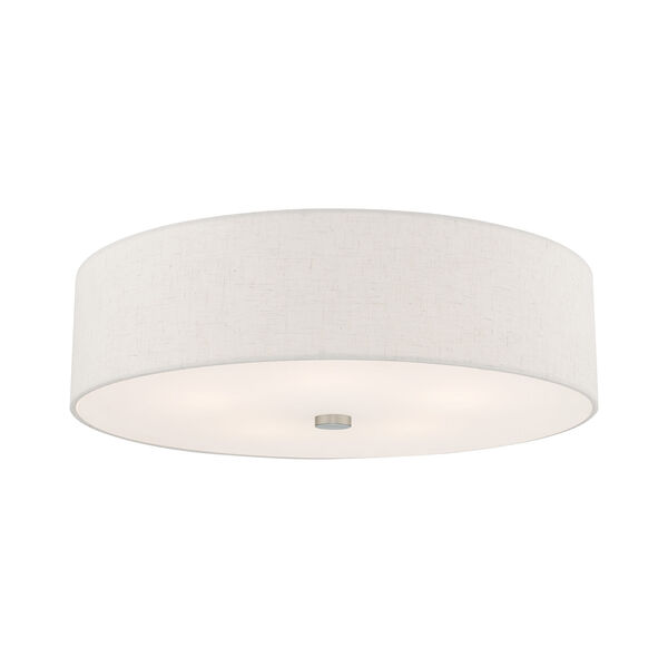 Meridian Brushed Nickel 22-Inch Five-Light Ceiling Mount with Hand Crafted Oatmeal Hardback Shade, image 3