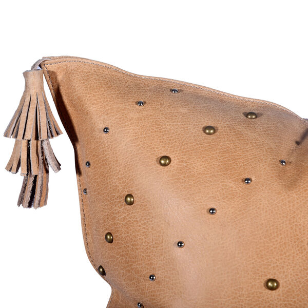 Genuine Leather Tan 20 In. X 24 In. Studded Leather Throw Pillow with Tassel, image 5