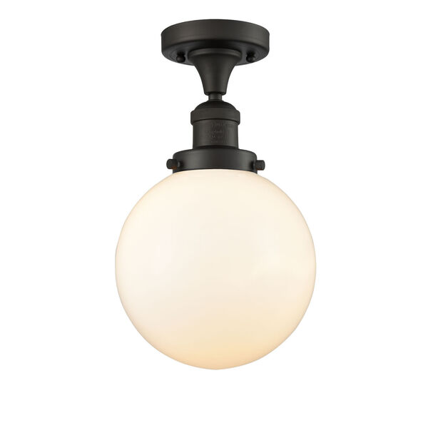 Franklin Restoration Oil Rubbed Bronze Eight-Inch One-Light Semi-Flush Mount with Matte White Glass Shade, image 1