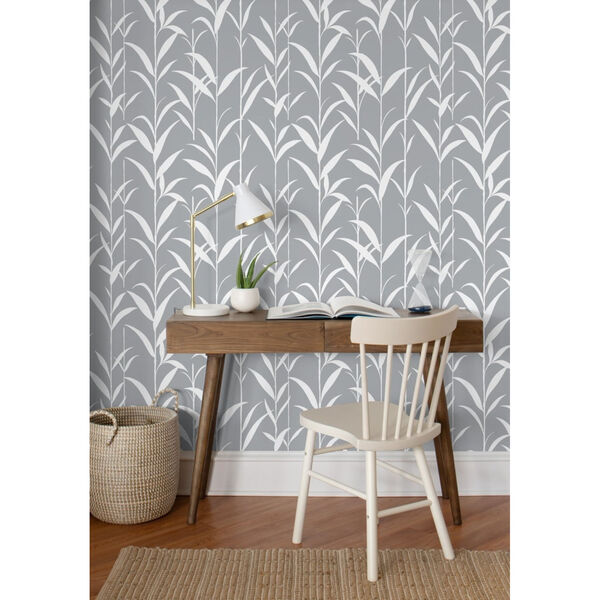 NextWall Gray Bamboo Leaves Peel and Stick Wallpaper, image 3