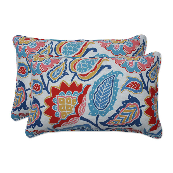 Moroccan Blue Red Yellow Throw Pillow, Set of Two, image 1
