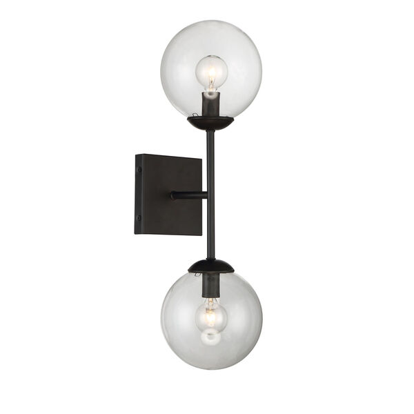 Uptown Black Globe Two-Light Wall Sconce, image 2