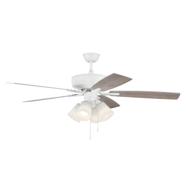 Pro Plus White 52-Inch Four-Light Ceiling Fan with White Frost Bell Shade, image 5