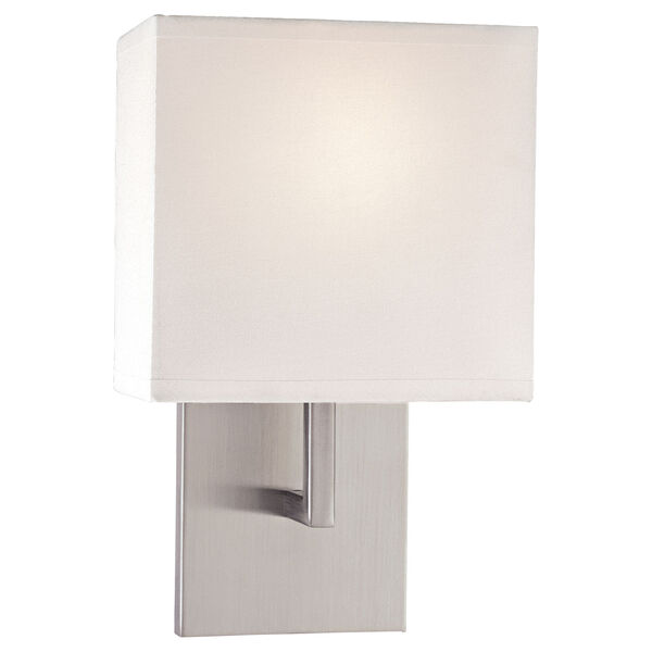 Sconces Brushed Nickel One-Light Wall Sconce with White Fabric Shade, image 1