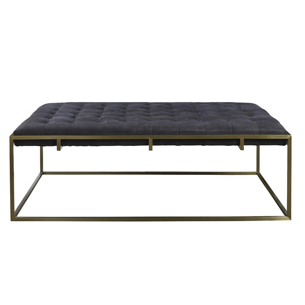 Curated Black Travers Cocktail Ottoman in Burnham Black Leather, image 2