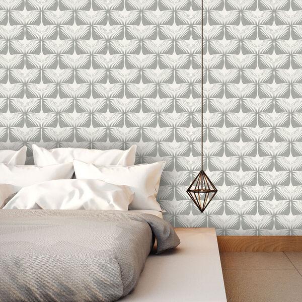 Genevieve Gorder Feather Flock Chalk Removable Wallpaper, image 2