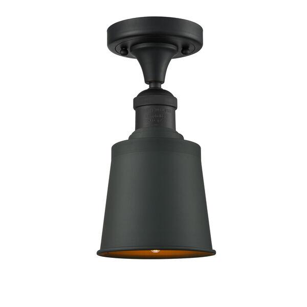 Franklin Restoration Matte Black Five-Inch LED Semi-Flush Mount, image 1