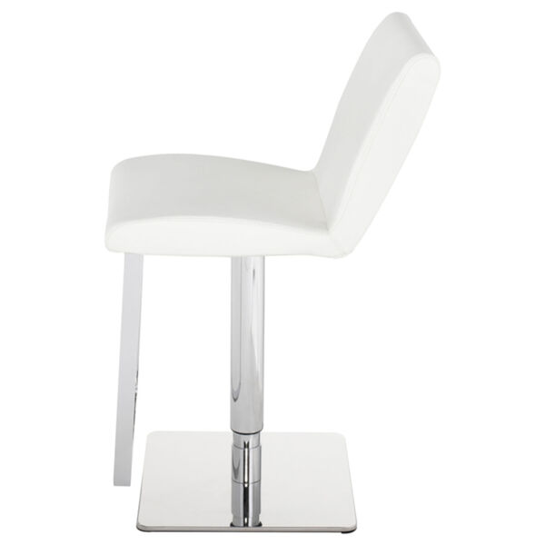 Lewis White and Silver Adjustable Stool, image 3
