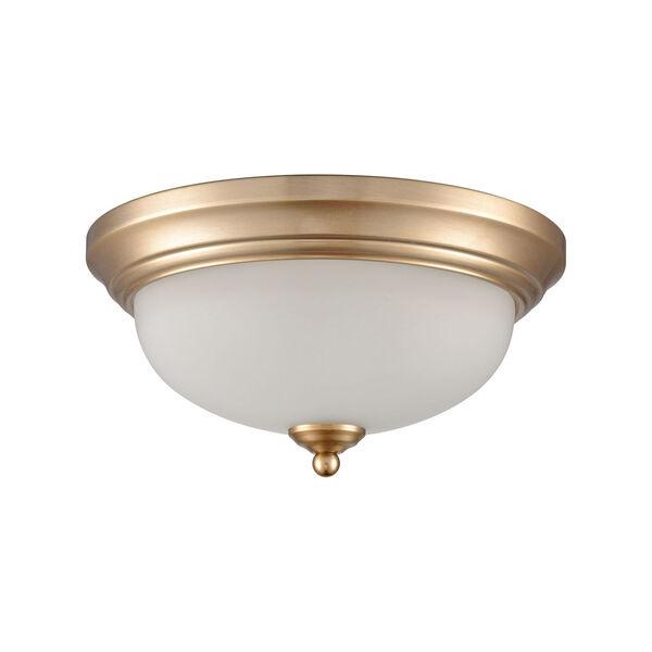 Huntington Satin Gold 11-Inch Two-Light Flush Mount, image 2