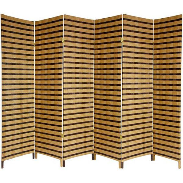 Six Ft. Tall Two Tone Natural Fiber Room Divider Six Panel, Width - 17.75 Inches, image 1