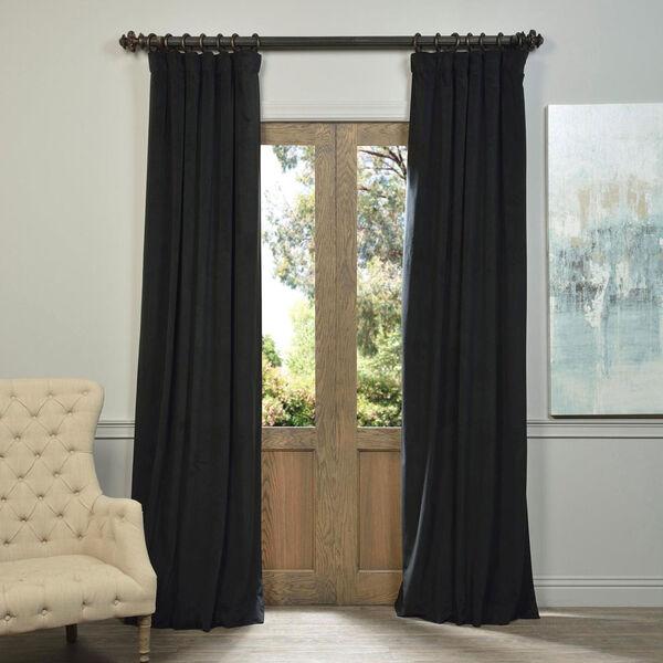 Signature Warm Black Blackout Velvet Pole Pocket Single Panel Curtain, 50 X 108, image 1