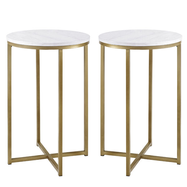 Alissa Faux White Marble and Gold Metal X-Leg Side Table, Set of Two, image 2