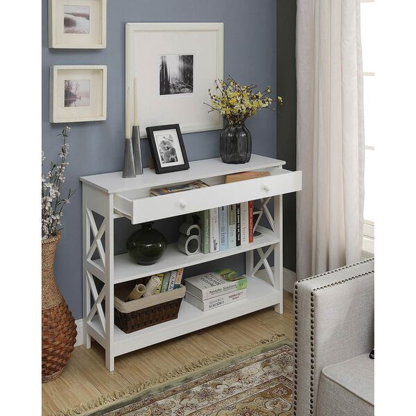 Oxford 1 Drawer Console Table, White, image 4