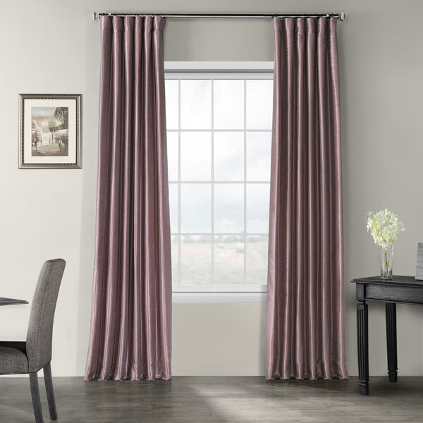 Smoky Plum Vintage Textured Faux Dupioni Silk Single Panel Curtain, 50 X 108, image 1