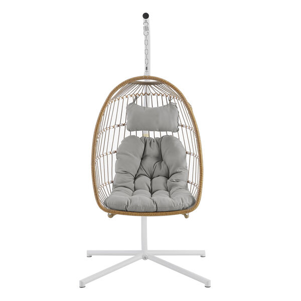 Brown and Gray Outdoor Swing Egg Chair with Stand, image 3