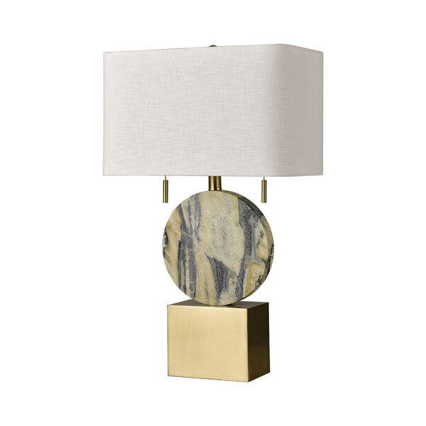 Carrin Natural Stone and Honey Brass Two-Light Table Lamp, image 2
