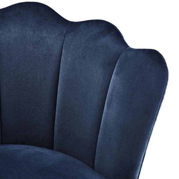 Stella Navy Blue Velvet Seashell Armless Chair with Black and Gold Leg, image 5