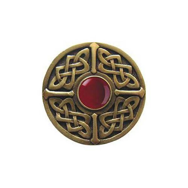 Brass Red Carnelian Celtic Jewel  Knob , image 1