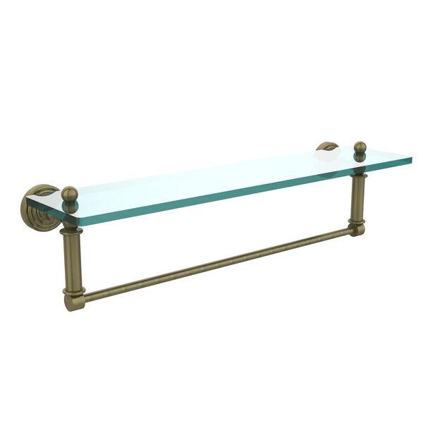 Waverly Place Antique Brass 22x5 Glass Shelf w/ Towel Bar, image 1
