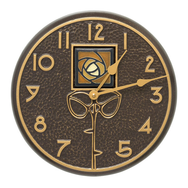 Amber Dard Hunter Rose French Bronze Indoor Outdoor Wall Clock, image 1
