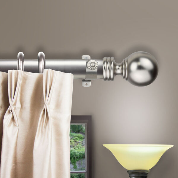 Satin Nickel 48-Inch Sphere Decorative Traverese Rod with Ring, image 2