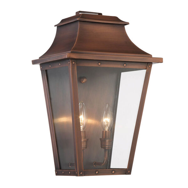 Coventry Copper Patina 17-Inch Two-Light Outdoor Wall Mount, image 1