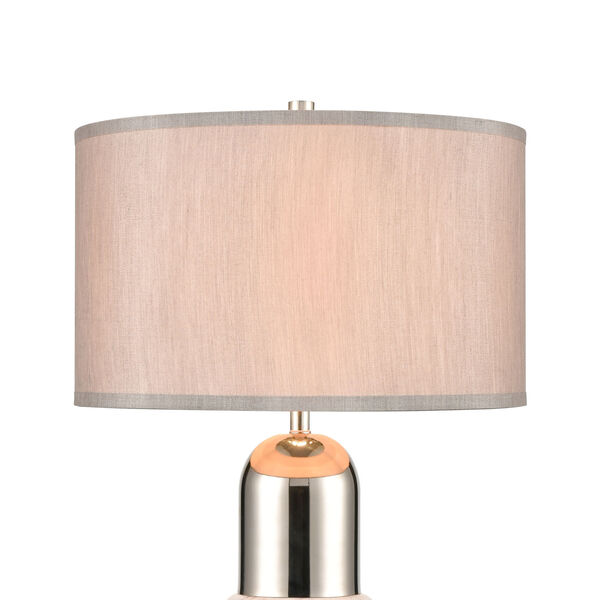 Silver Bullet Polished nickel and White Marble One-Light Table Lamp, image 3
