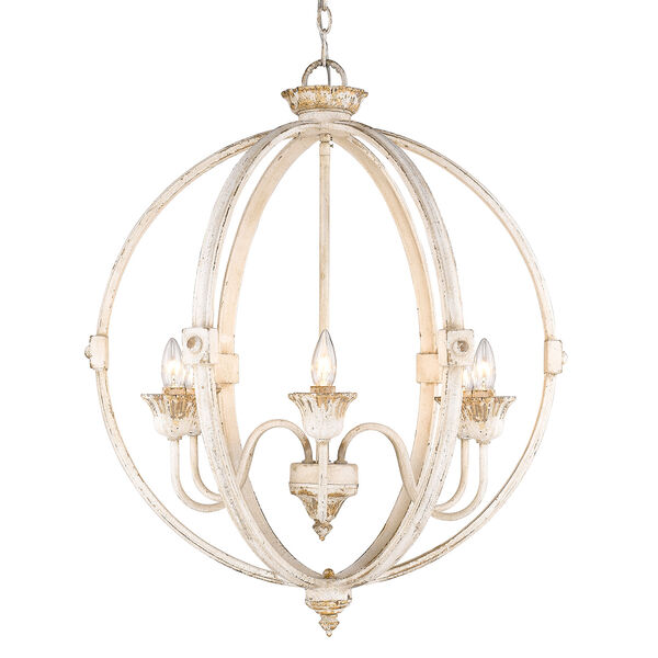 Jules Antique Ivory Six-Light Chandelier, image 1