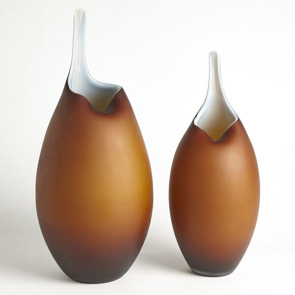 Frosted Amber and Blue Casing Vase, image 2