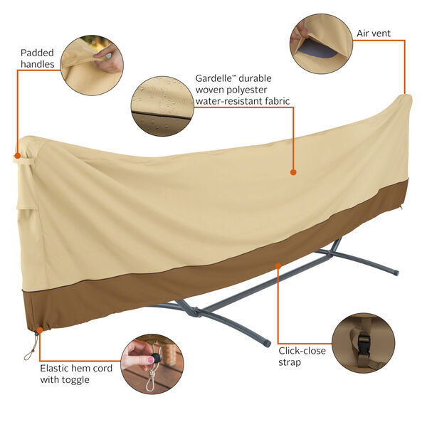 Ash Beige and Brown 15 Foot Standard Brazilian Hammock and Stand Cover, image 2