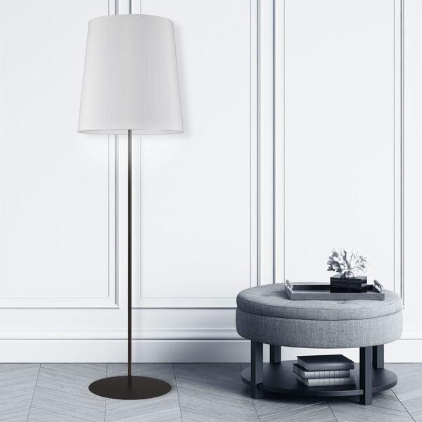 Matte Black and White One-Light Minimalist Floor Lamp, image 2