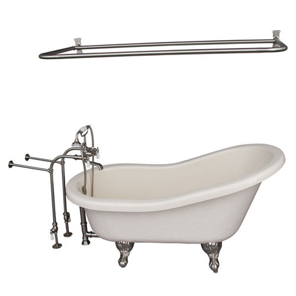 Brushed Nickel Tub Kit 60-Inch Acrylic Slipper, Shower Rod, Filler, Supplies, and Drain, image 1