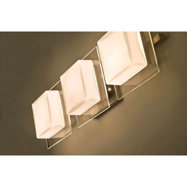 Alex Satin Nickel Three-Light LED Bath Vanity with Opal and Clear Glass, image 2