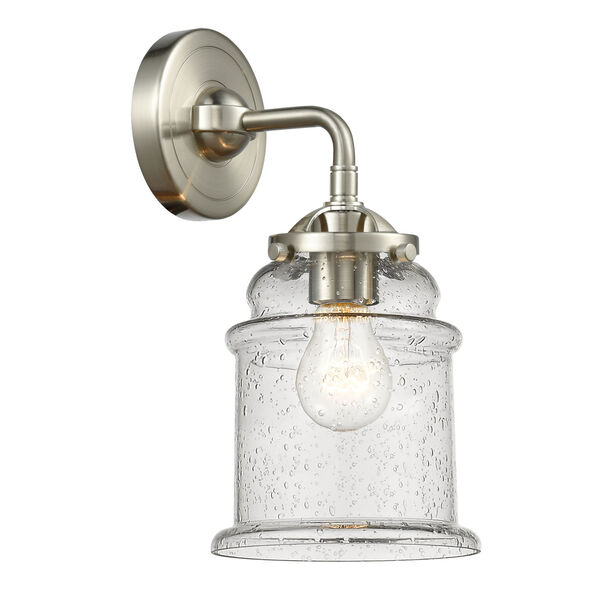 Nouveau Brushed Satin Nickel Six-Inch One-Light Wall Sconce with Seedy Glass Shade, image 1