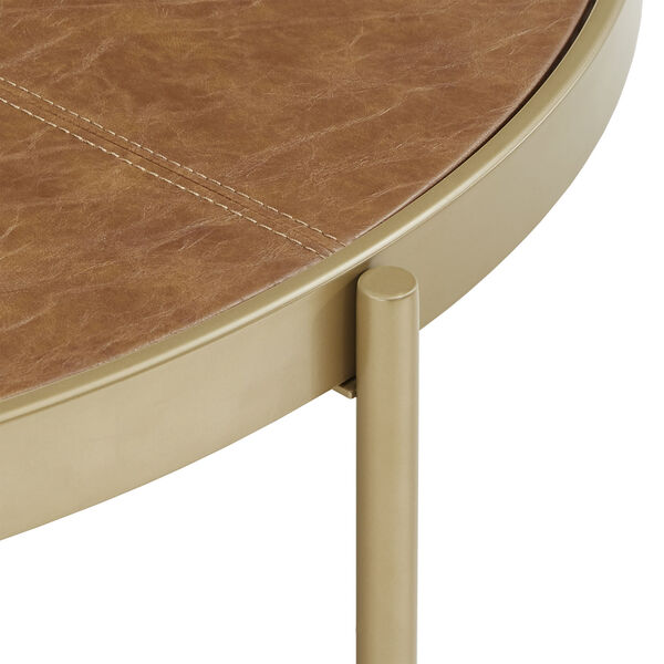 Dawson Gold and Faux Leather Coffee Table, image 4