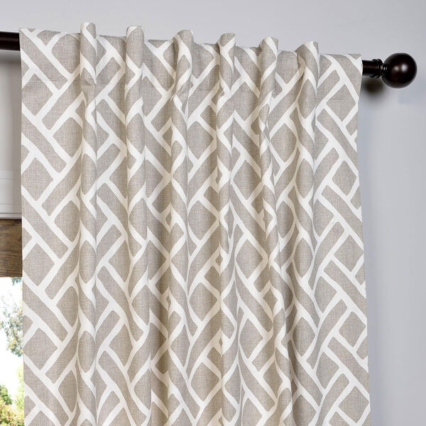 Martinique Taupe 84 x 50-Inch Printed Cotton Curtain Single Panel, image 4