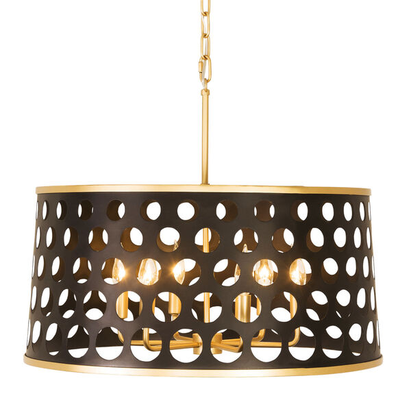 Bailey Matte Black French Gold 24-Inch Six-Light Pendant, image 1