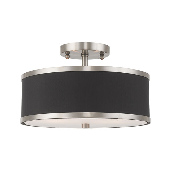 Park Ridge Brushed Nickel 13-Inch Two-Light Ceiling Mount with Hand Crafted Black Hardback Shade, image 1