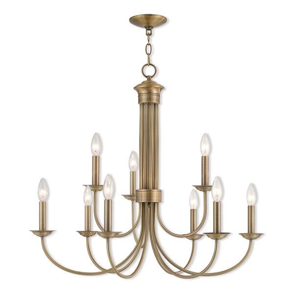 Estate Antique Brass 30-Inch Nine-Light Chandelier, image 1